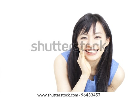 beautiful young woman whispering message isolated on white background