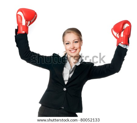 beautiful young woman with boxing gloves on white background
