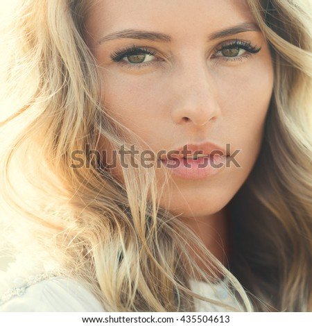beautiful young woman with luxurious hair