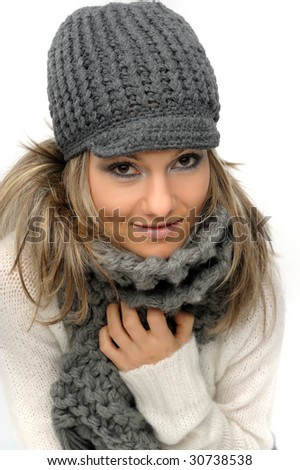 beautiful young woman with winter clothes