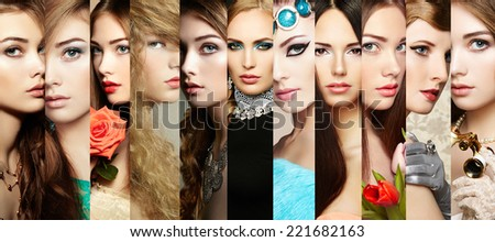 Beauty collage. Faces of women. Group of people. Fashion photo