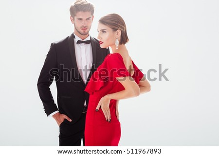 Beauty couple in love. white background