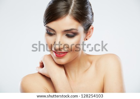 Beauty face woman portrait.  Young beautiful model. Close up smiling female face