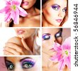 Beauty model with color makeup with flower - stock photo