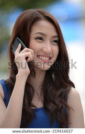 Beauty office worker woman on phone in business and smile