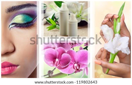 Beauty, spa and cosmetics collage with various flowers, closeup shots of face and hands