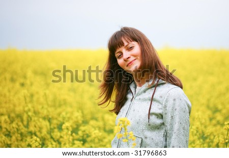 Beauty woman in flower field