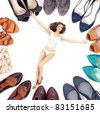 Beauty woman in lingerie and many pairs of shoes - stock photo