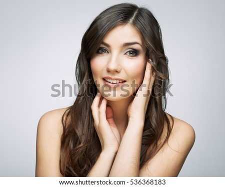 Beauty woman touching face portrait. Close up isolated.