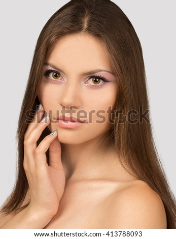 Beauty young woman. Beauty, spa. Attractive woman with beautiful face. Natural Plump full Lip. Lips augmentation. Close up over white background