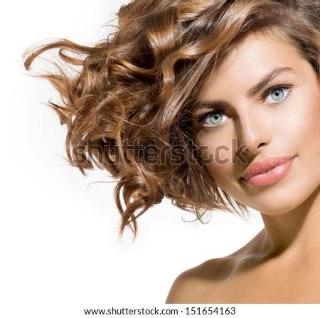 Young Beauty Woman Short Bob Hairstyle Stock Photo - Haircut girl model