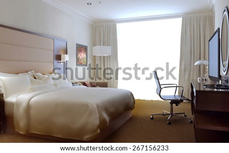 Bedroom modern interior, 3d render