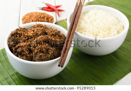 Beef Rendang Sticky Rice Malaysian Indonesian Spicy Dry Beef Stew With Coconut Milk