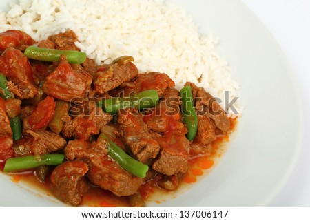 Beef Stew with Green Beans and Rice. Beef a la Mexicana.
