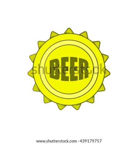 Beer bottle cap icon in cartoon style