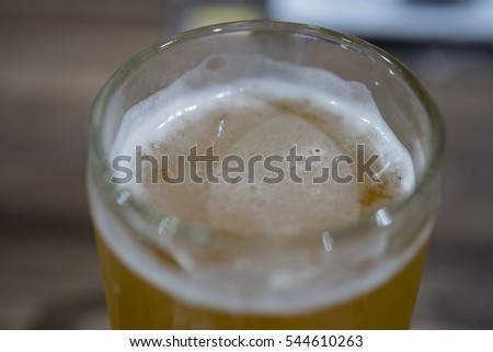 Beer bubbles in glass