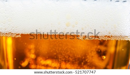 beer bubbles in the glass, close up