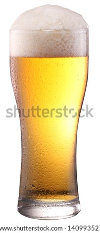 Beer glass on white background. File contains a clipping path.