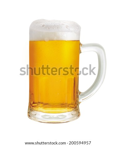 Beer mug. A mug of beer with froth and slight spill