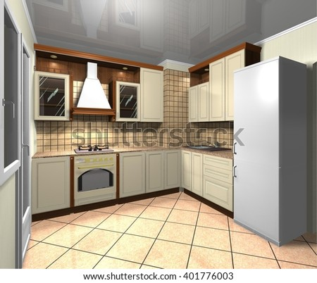 beige kitchen in a classic style, interior design 3D rendering