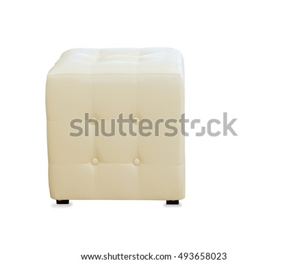 Beige pouf ottoman isolated over white