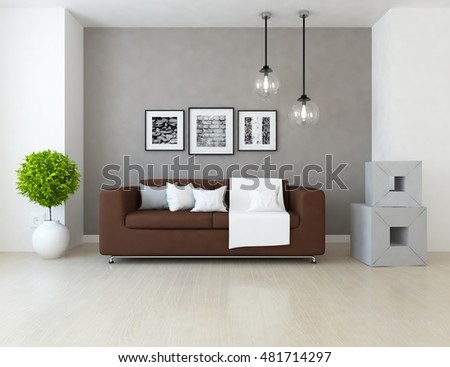 sofa pictures living room. Beige room with sofa  Living interior Scandinavian 3d illustration Stylish Room Grey Sofa Small Stock Photo 377848450