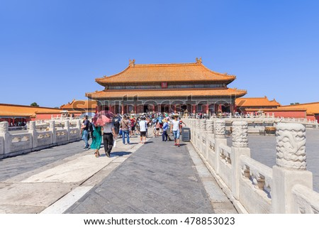 BEIJING-AUGUST 28, 2016. View on majestic pavilion, Palace Museum (Forbidden City), listed UNESCO World Heritage Site (1987) as largest collection of preserved ancient wooden structures in the world.