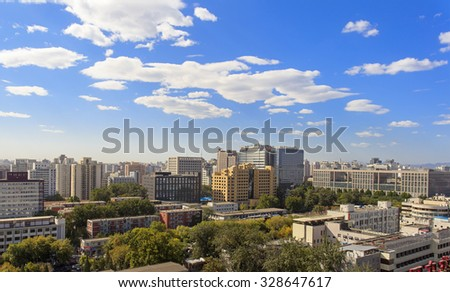 BEIJING, CHINA - OCTOBER 9, 2015: Cityscape of Beijing city.  Beijing, the capital of the People's Republic of China,  has a population of 21,150,000 as of 2013.