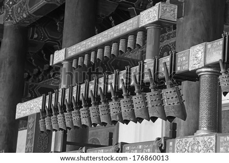 BEIJING - DECEMBER 22: Chinese chimes in the hall, in the Imperial Ancestral Temple, December 22, 2013, Beijing, China.