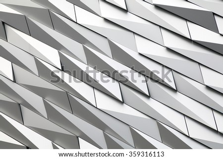 Belfast, Northern Ireland - September 19, 2014 : Textured wall of the Titanic museum .Titanic Belfast is a visitor attraction and a monument to Belfast's maritime heritage .