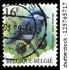 """BELGIUM - CIRCA 1992: a stamp printed in Belgium shows a bird, with the inscription """"Mesange Noire"""", from the series """"Birds"""", circa, 1992 - stock photo"""