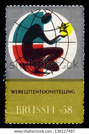 BELGIUM - CIRCA 1958: A stamp printed in Belgium shows emblem of World Exhibition in Brussels 1958, circa 1958