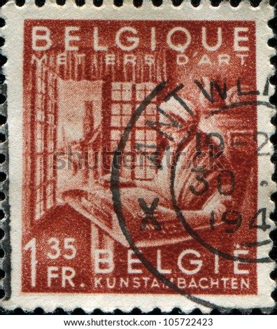 BELGIUM - CIRCA 1948: A stamp printed in Belgium, shows the lace-maker at work, circa 1948