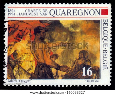 BELGIUM - CIRCA 1994: a stamp printed in the Belgium shows Fall of the Golden Calf, Detail of Painting by Fernand Allard l'Olivier, centennial of the Charter of Quaregnon, Belgium, circa 1994