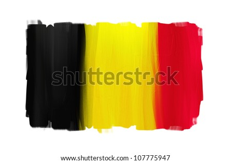 Belgium hand painted national flag isolated on white