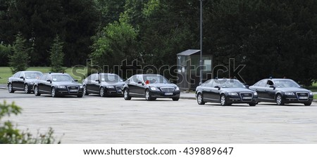 BELGRADE, SERBIA - CIRCA JUNE 2016: Convoy of protected vehicles with Chinese president arrives at presidential building, circa June 2016 in Belgrade
