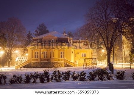 Belgrade, Serbia - 12.January 2017., Night shot of the kindergarten, from 19th century, during the winter night and street lights with soft effect to look like fairy castle