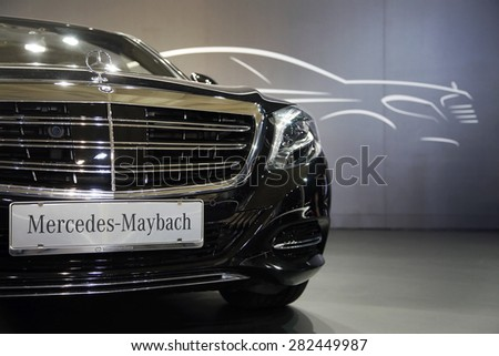 Belgrade, Serbia - March 28, 2015: Black Mercedes Maybach present at Belgrade 52th International Motor Show - MSA OICA.
