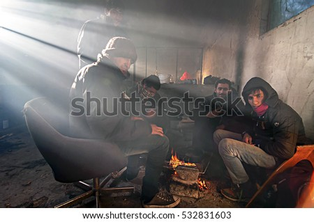 Belgrade, Serbia- November 29th 2016 About 1,000 migrants find shelter from rain and cold weather in an abandoned warehouse behind the main railway station in Belgrade.