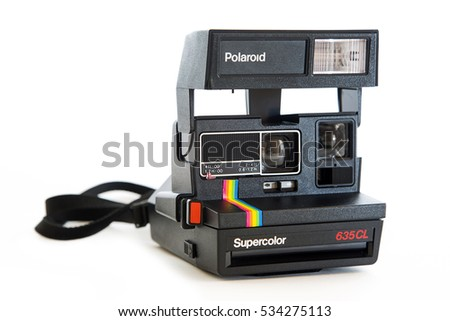 BELGRADE, SERBIA - SEPTEMBER 26, 2016: Polaroid 635CL instant vintage camera. Polaroid company was founded in 1937 in Cambridge, Massachusetts.
