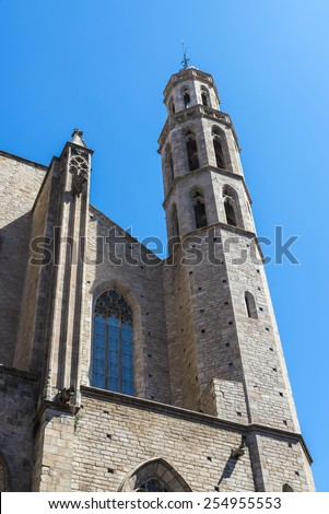 Bell tower of the church of Santa Maria del Mar in Barcelona
