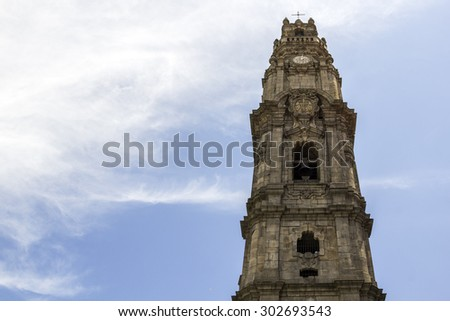 Bell tower of the Clerigos Church (Torre dos Clerigos) in blue sky background, is one famous panoramic viewpoint destination of Porto city, Portugal.