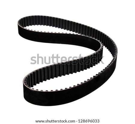 belt car engine isolated white background.Automobile spare part