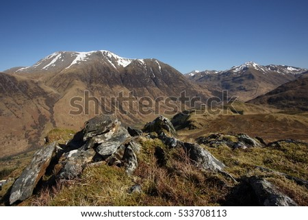 Ben Nevis in April with remnants of winter snow remaining on the summit.