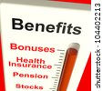 Benefits Meter Shows Bonus Perks Or Rewards - stock photo