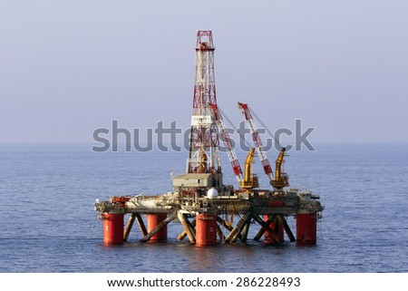 "Benghisa, Malta June 11, 2015: Oil Rig ""Zagreb 1"" moored to the south of Malta, awaiting its next drilling job."