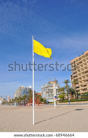 Benidorm Costa Blanca Alicante Spain Europe Beach Yellow Caution Swimming Flag Blowing