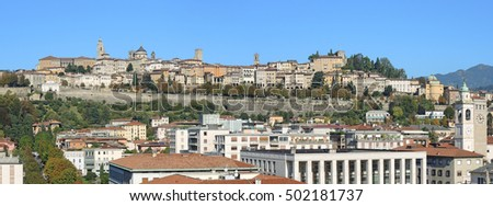 Bergamo - Old city (Citta Alta). One of the beautiful city in Italy. Lombardia. Landscape on the old city during a wonderful blu day.
