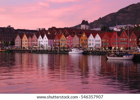 Bergen, Norway - October 6, 2016: Historic Hanseatic houses on the harbor of Bergen, Norway in Scandinavia at sunset