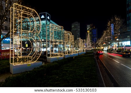 BERLIN - DECEMBER 07, 2016: The shopping street of West Berlin, Tauentzienstrasse in the Christmas illuminations.